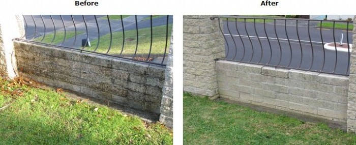 Stone wall before and after cleaning with Wet & Forget