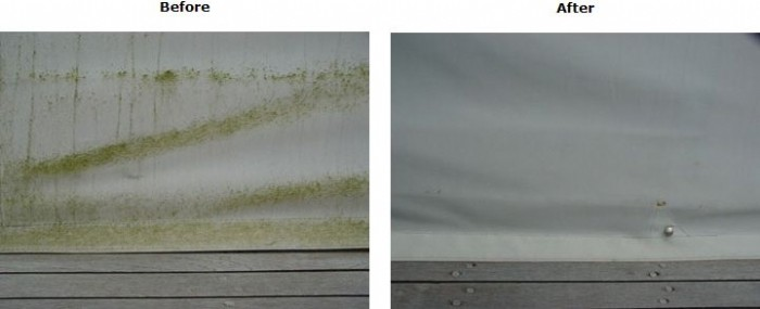 White canvas before and after cleaning with Wet & Forget