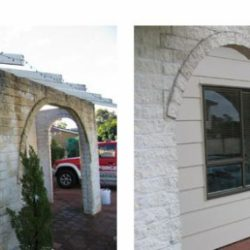 Stone archway before and after cleaning with Wet & Forget