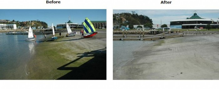 Slipway before and after cleaning with Wet & Forget