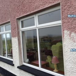 Rendered wall before and after cleaning with Wet & Forget