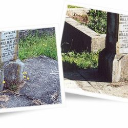 Gravestone before and after cleaning with Wet & Forget