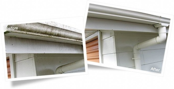 Guttering before and after cleaning with Wet & Forget