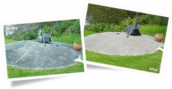 Concrete before and after cleaning with Wet & Forget