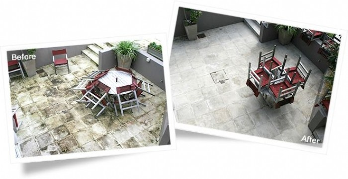 Patio slabs before and after cleaning with Wet & Forget