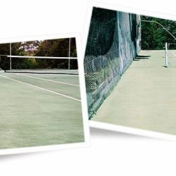 Tennis court surface before and after cleaning with Wet & Forget