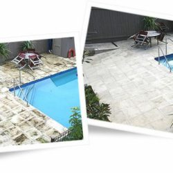 Poolside tiles before and after cleaning with Wet & Forget