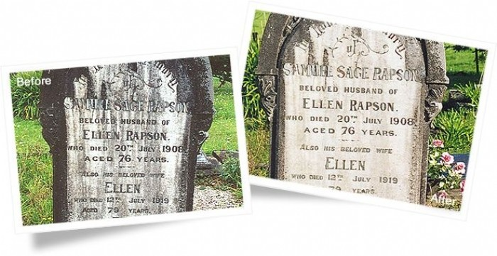 Tombstone before and after cleaning with Wet & Forget