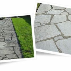 Crazy paving before and after cleaning with Wet & Forget