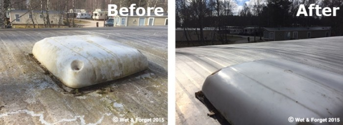 Caravan roof before and after cleaning with Wet & Forget